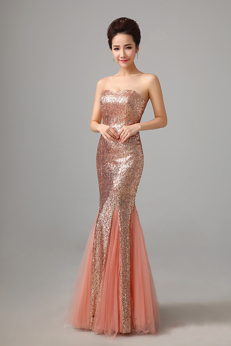 Evening Dresses 2015 Hot Sell Plus Size Sexy Strapless Sequins Pink Fishtail