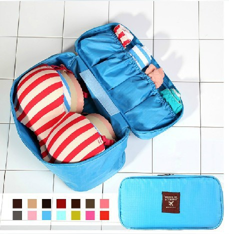 2015 Top Sale Zipper Solid Necessaries Sexy Women's Beautician Bra/underwear Organizer Bags Traveling Bag Cosmetic Cases Makeup(China (Mainland))