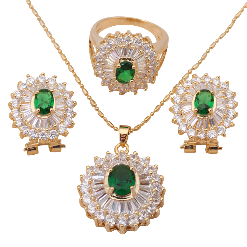 18k k gold plated Necklaces & Pendants Earrings Peridot Sets jewelry Zircon Fashion Ring sz #5.5 #8.5 #6.75 #8 JS183A - Jos fan's store