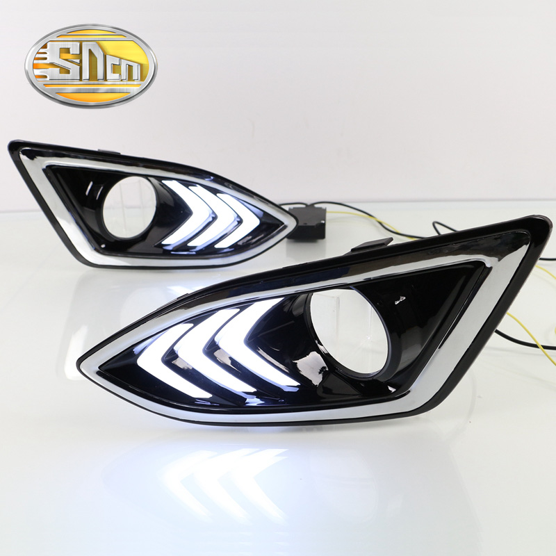 Crazy sales! Car accessories Daylight Led DRL Daytime Running lights for Ford Edge 2015 2016 yellow signal lights<br><br>Aliexpress