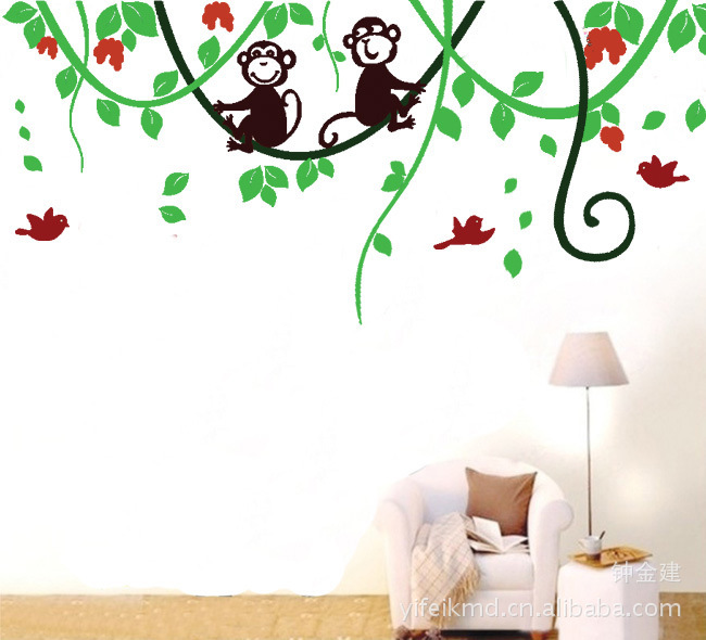 Dream Baby Monkey Wall Stickers Tree Wall Decals for Kids Rooms Home Decoration Nursery Monkey Birds Wallpaper Poster LD676(China (Mainland))