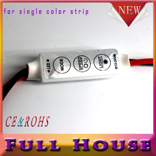 1pcs/lot 12V Mini 3 Keys Single Color LED Controller Brightness Dimmer for led 3528 5050 strip light Free shipping(China (Mainland))