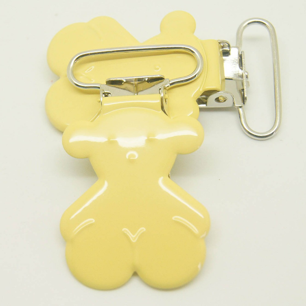 10,bear shaped suspender clip yellow color 25mm ribbon clips pacifier
