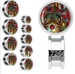 100cs/lot size mix Machinery Gears logo body ear plugs flesh tunnel piercing jewelry free shipmet hot sale(China (Mainland))