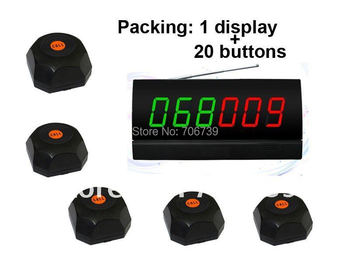 guest to waiter system,20pcs of black single call bell and 1 pcs of display showing 2 groups of number by different color