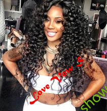 In Stock—Hot selling # 1b color natural black Synthetic Lace Front wig water wave wigs for american women aliexpress uk