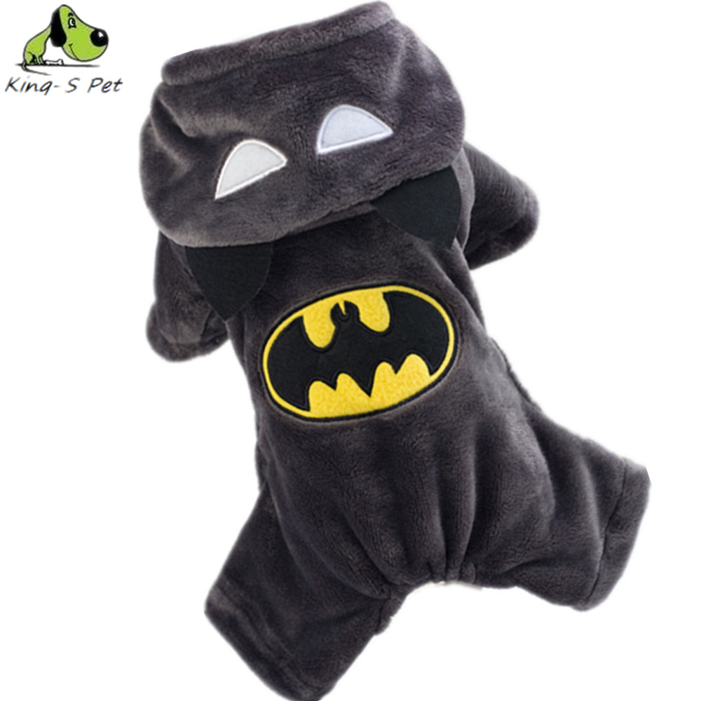 Fashion Cotton Pet Cat Dog Costume Autumn Winter Batman Coat Jackets Small Four Leg Black Sportwear Jumpsuit Clothes For Dogs(China (Mainland))