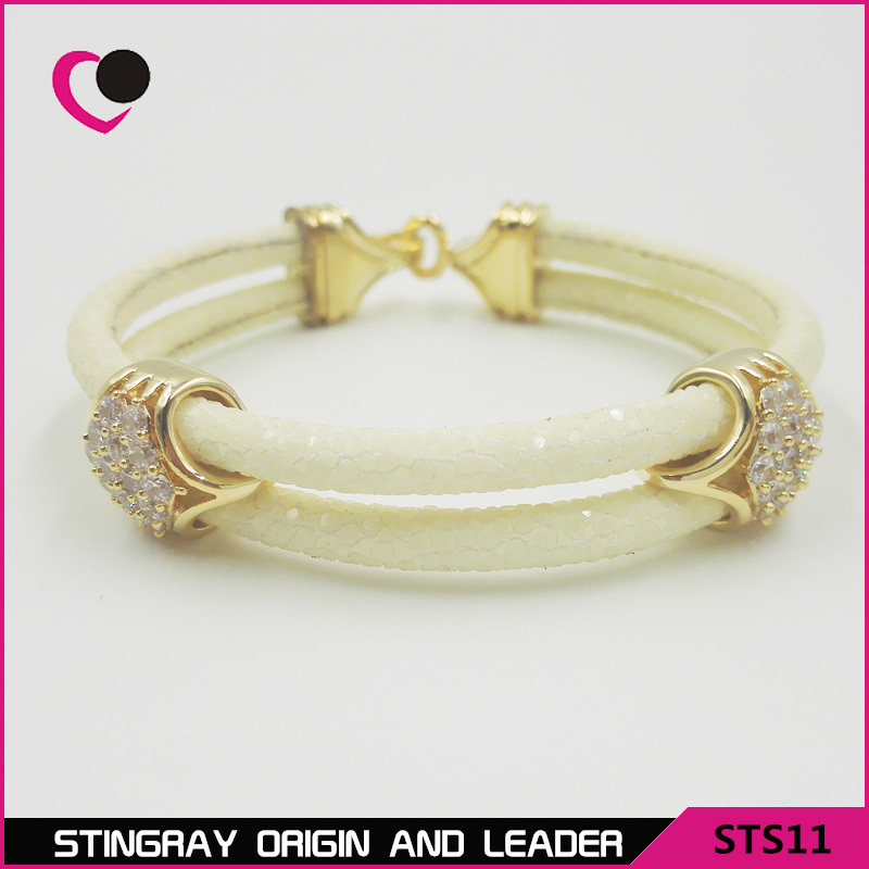 New arrival women white color stingray skin bracelet with 18k gold 925 silver clasp-STS11<br><br>Aliexpress