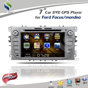 """Hot sale 7"""" silver Car DVD GPS Player iPod TV BT Radio CAN BUS(optional) for Ford Focus/Ford mondeo FCC/CE/ROHS certified+4G map(Hong Kong)"""