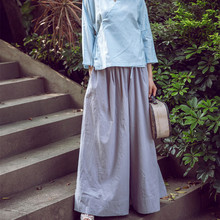 2016 spring and summer women's vintage fluid loose casual wide leg pants classic all-match culottes trousers linen pants(China (Mainland))