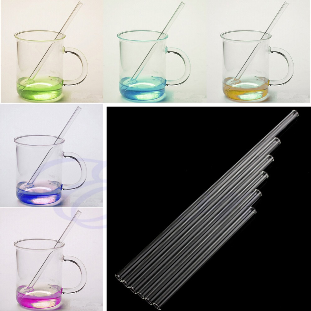 Clear 10mm Reusable Wedding Birthday Party Drinking Straws Glass Thick Straws 6sizes