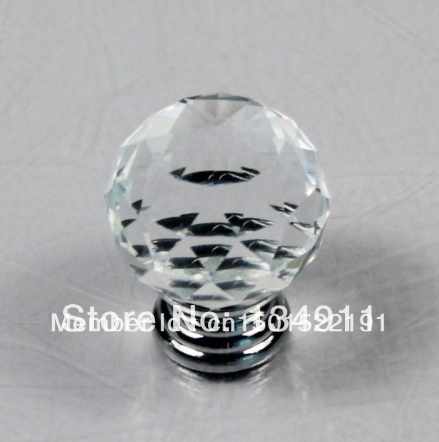 Kitchen Cabinet Handles Cheap: 10pcs 30mm K9 Clear Crystal Handles Drawer Knobs Round