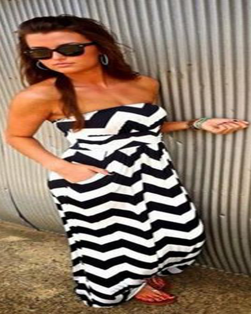 2015 summer style long dress women white and black striped maxi party beach dress sexy strapless sleeveless plus size DY046A(China (Mainland))