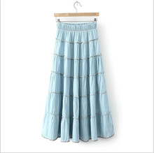 Spring And Summer Style Women's Denim Long Skirt Elastic High Waist Casual Maxi Skirt XY-47