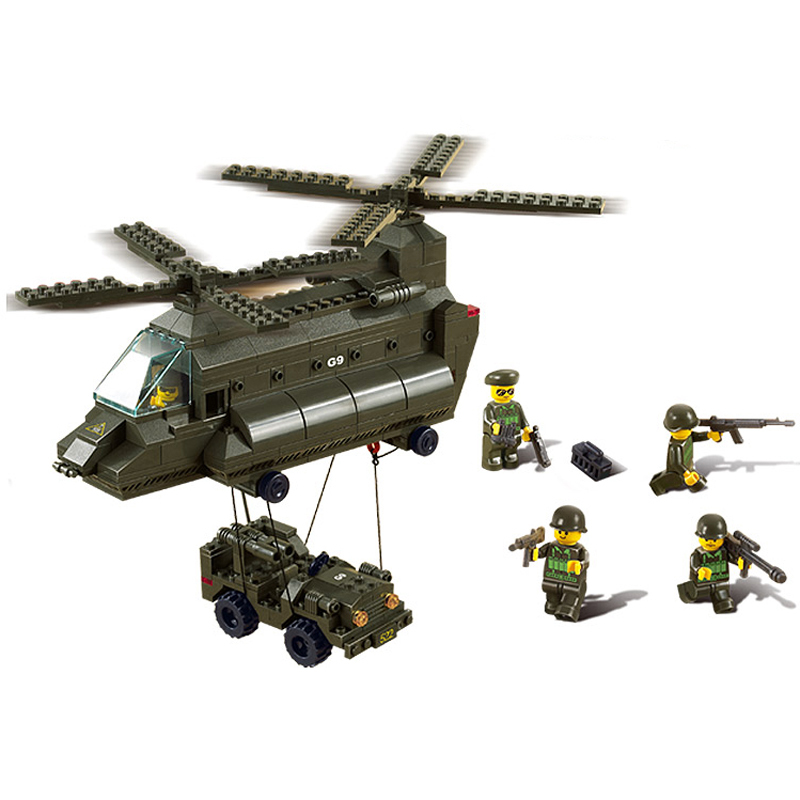 Sluban M38-B6600 Military Army Aerotransport Cargo Plane Helicopter Building Block Sets Compatible With Lego<br><br>Aliexpress