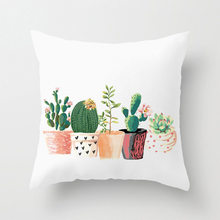 Factory direct plant cactus polyester printing square pillowcase home bedding cushion cover sofa pillow car seat square cushion(China)