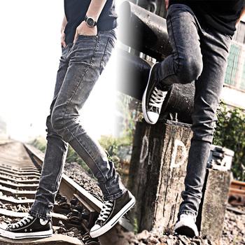 Мужчины в одежда темно-серый вилочная часть приталенный деним брюки свободного покроя ...