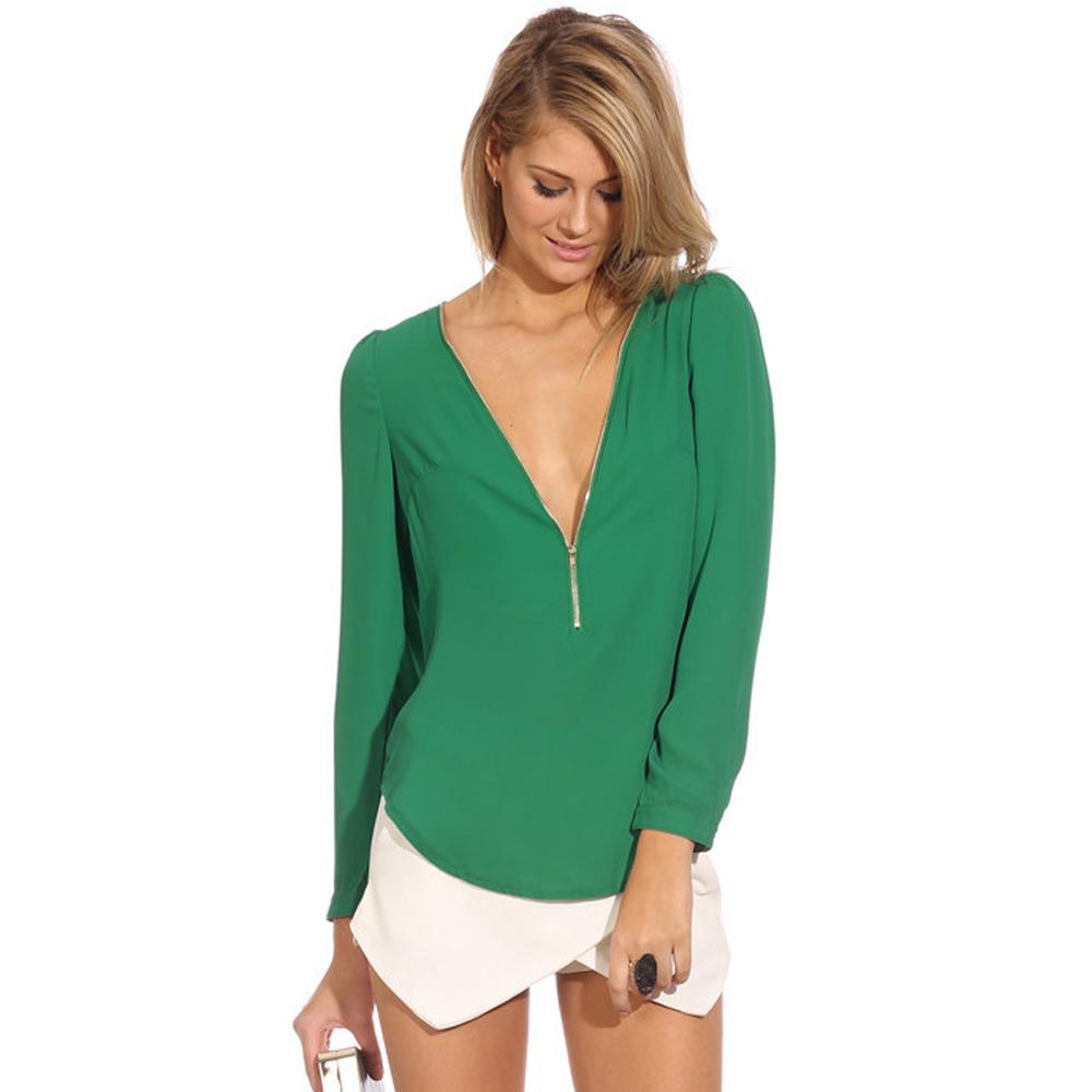 Blusas Femininas 2015 Fashionable V Neck Casual Women Shirts Blouses Long Sleeve Chiffon Blouse Woman Plus Size Tops(China (Mainland))
