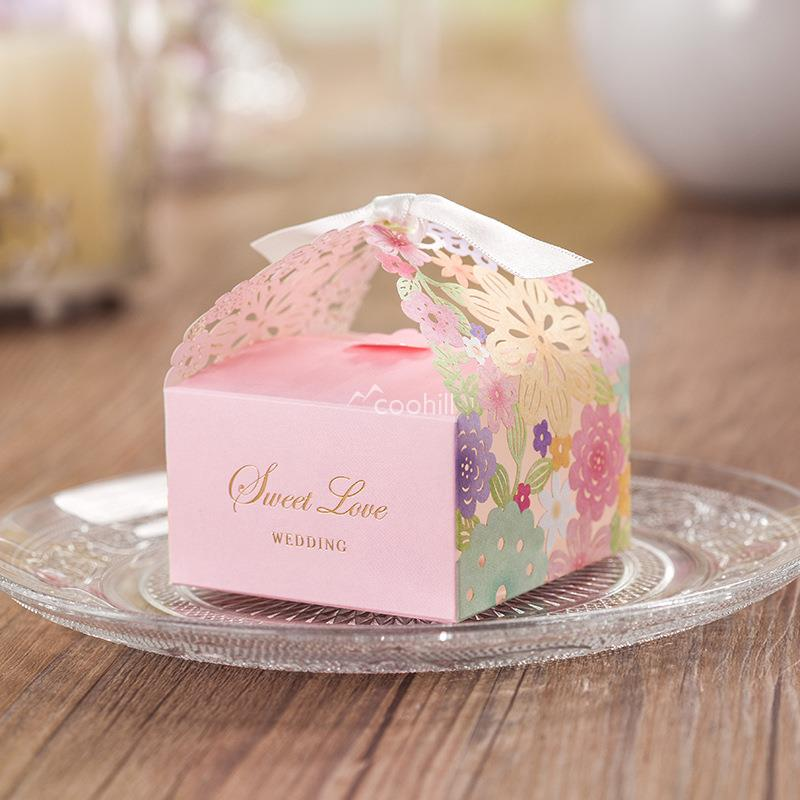 3Sweet Love Laser Cut Flower Paper Wedding Favor Boxes Candy Box Casamento supplies Decors Chocolate - Coohill store