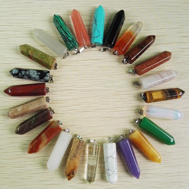 Wholesale natural stone Pendants necklaces mixed fahsion Jewelry stone charm pendant Point pendant 24pcs lot Free