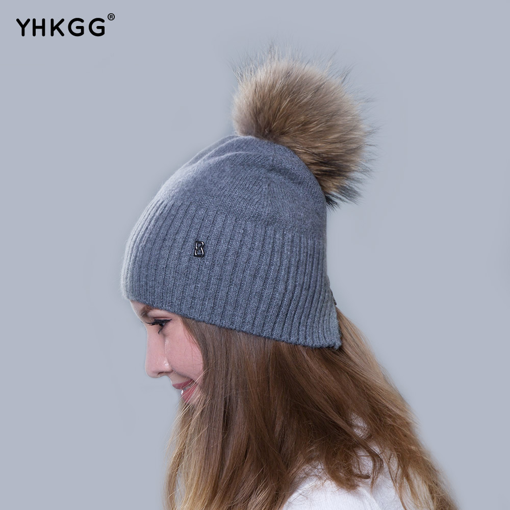 2016 newest fashion elegant plain band hair ball letters Ms. cashmere hat beanies gorros(China (Mainland))