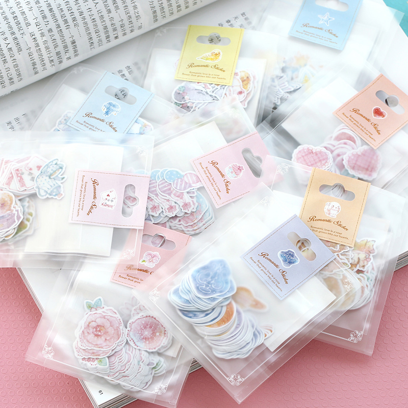 70 pcs/lot romantic mini paper sticker bag DIY diary planner decoration sticker album scrapbooking kawaii stationery(China (Mainland))