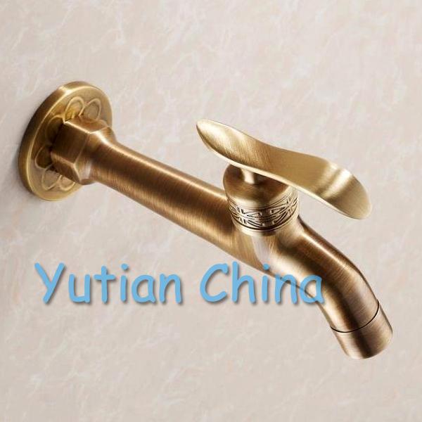 Long garden use Bibcock faucet tap crane Antique Brass Finish Bathroom Wall Mount Washing Machine Water Faucet Taps YT-5156(China (Mainland))