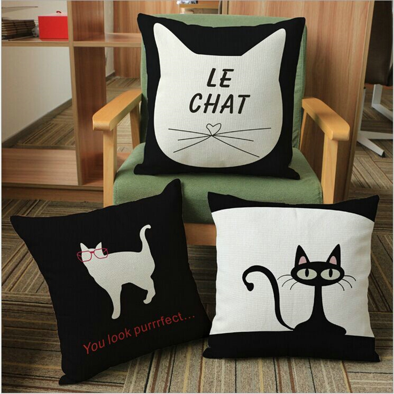 GL'S, linen/cotton fabric animal style printed euro pillow cover,Christmas/housse de coussin/sofa decorative cushion cover,cats(China (Mainland))