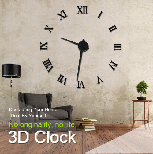 3d mirror wall clock stickers Acrylic mural BIG sticker wall clock home Decoration WALL STICKERS wall decor decorative stickers(China (Mainland))
