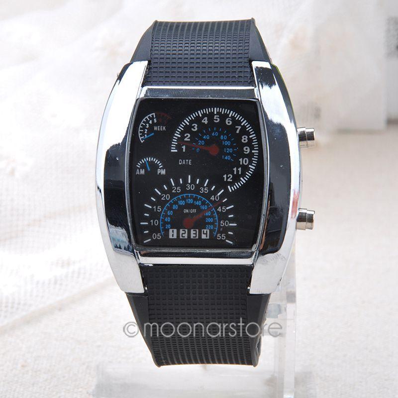 Fashion Aviation Turbo Dial Flash LED Watch Men Military Sports Mens Car Meter Cool Digital Watch Wristwatch Y60*MPJ071#S7(China (Mainland))