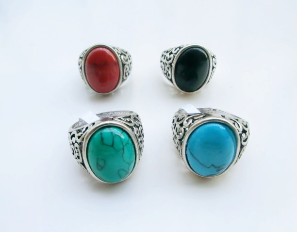 Vintage Retro Tibetan Silver Plated Round Turquoise Stone Ring For Men Fashion Turquoise Jewelry Wholesale Free