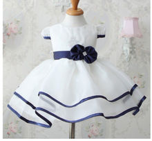 Baby Girls Princess Birthday Party White Formal Gown Dress with Waistband dress(China (Mainland))