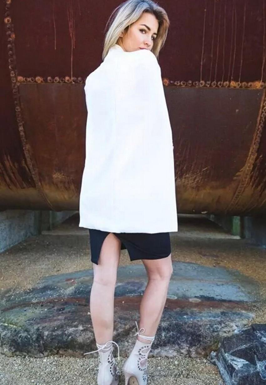 Винтаж Воротником Раскол Рукав Плаща Пиджак Плащ Осень 2015 Новых женских Сплошной Цвет ПР Пиджак Пальто Черный, белый