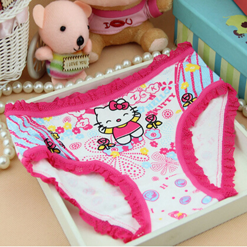 Promotion Discount 2015 Free Shipping Cute Cartoon Children Panties Rose Cat 100% Cotton Girls Underwear Lace Kids Lingerie(China (Mainland))
