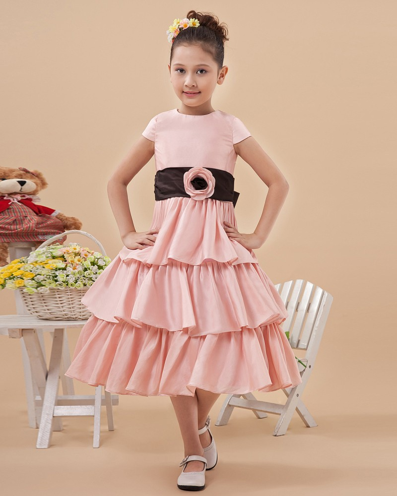 Mid calf A line sleeveless tank scoop chiffon cap sleeve bow blush girls flower dresses kids frock designs prom dresses(China (Mainland))