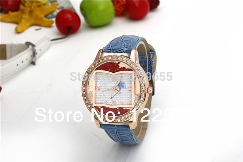 Very suitable for fashion girls quartz watch, watch case set with diamonds, dial of red diamond rolling design,very good-looking(China (Mainland))