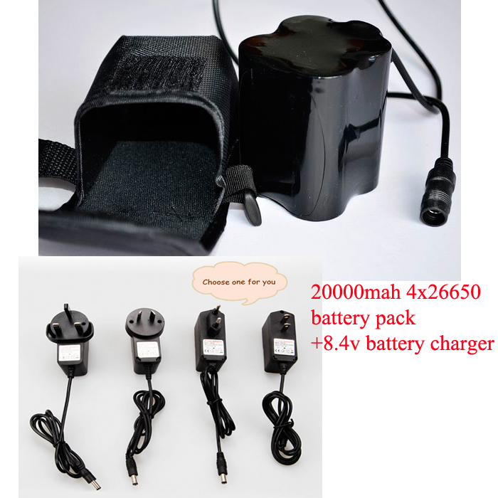 Rechargeable Battery 4*26650 20000mAh 8.4V Battery Pack DC 3.5*1.35mm for Bicycle Bike Light Headlamp Headlight with charger(China (Mainland))