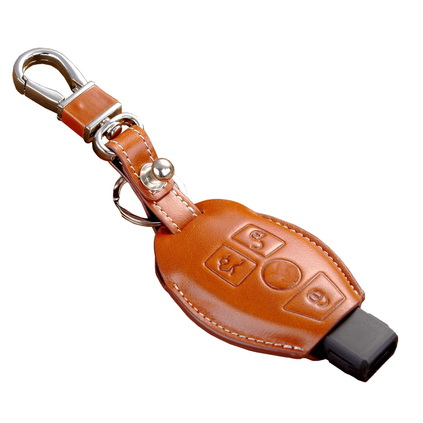 Fob leather key cover for auto mercedes benz key case for Mercedes benz key holder