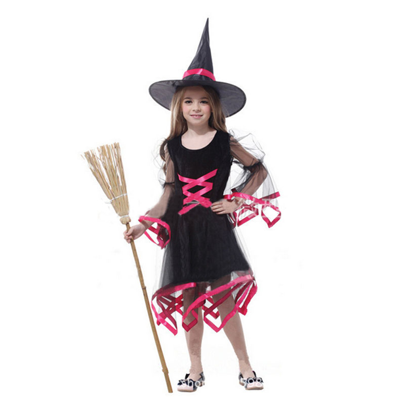 Children Girls Witches Cosplay Clothing Dresses Caps Hallowmas Costume Daughter Fancy Dress Carnival Party Birthday Gift(China (Mainland))