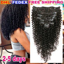 Buy 7A Kinky Curly Clip In Hair Extensions 4B 4C African American Clip In Human Hair Extension 120g 10 pcs Afro Kinky Curly Clip Ins for $65.00 in AliExpress store