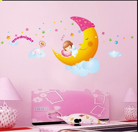 Girl diy removable wall stickers parlor kids bedroom home decor house