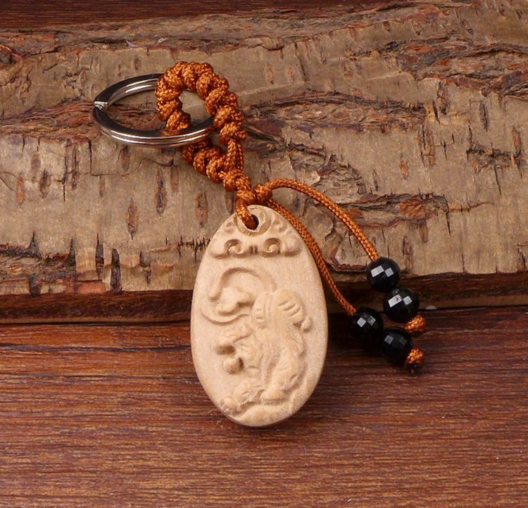 Long Yi white tiger Necklace Keychain tiger lucky Peach Town to help transport safety 2000010(China (Mainland))