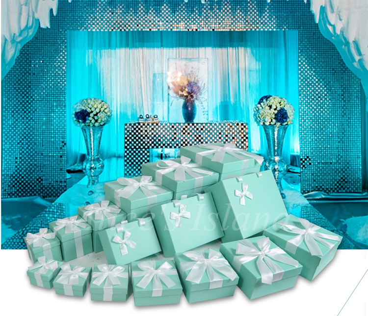 7pcs set tiffany blue ideas wedding decoration boxes theme for Baby blue wedding decoration ideas