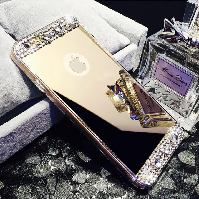 Luxury Diamond Mirror Coque For iphone 6 Rhinestone Crystal Soft TPU Cover iphone 6S 6 Plus Case 4.7' 5.5' Housing Phone Cases(China (Mainland))