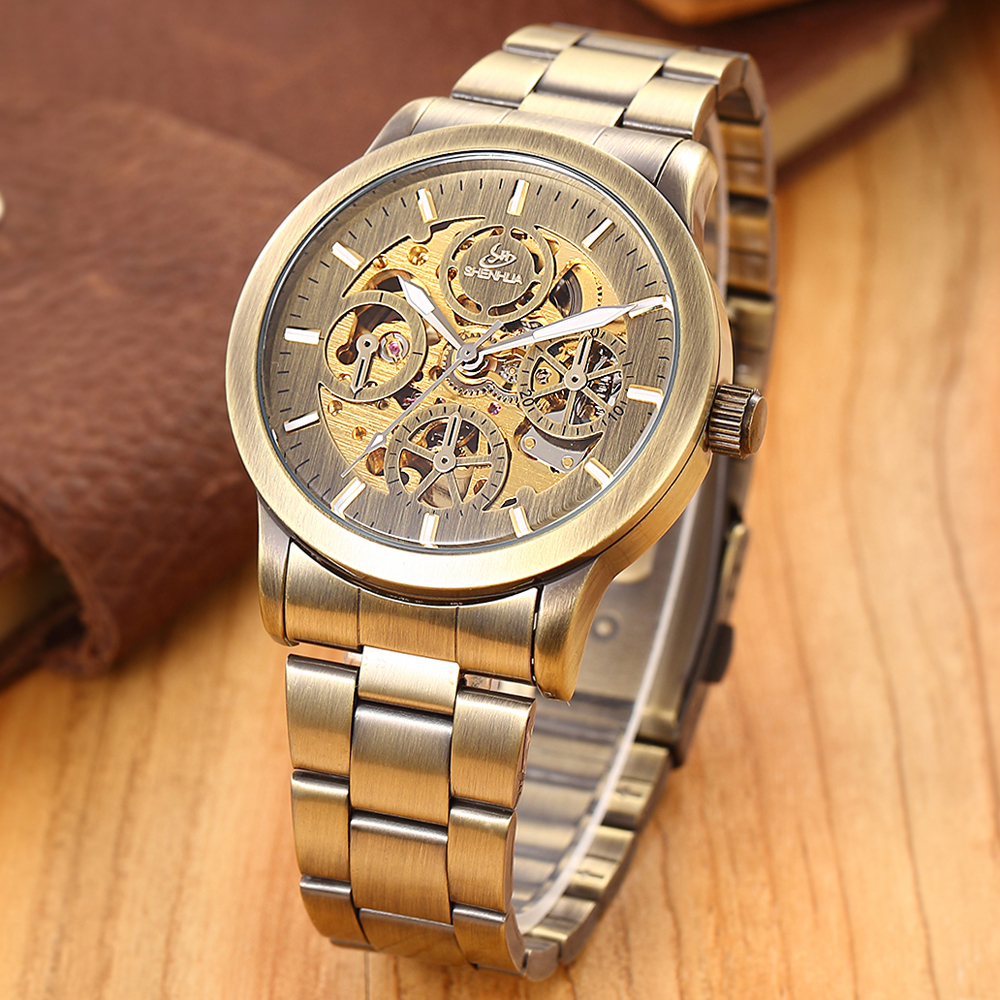 2015 new SHENHUA brand steel men male military clock automatic mechanical self wind fashion wrist luxury watch quality gift 15<br><br>Aliexpress