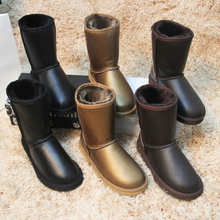 Free shipping! Classic Nature fur Wool real sheepskin leather snow boots for women winter shoes High Quality(China (Mainland))