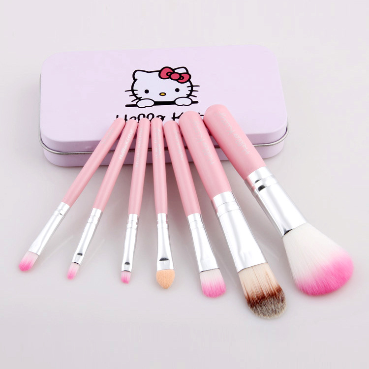 7Pcs Hello Kitty Makeup brushes Eye Shadow Make up Brushes Set Tool Professional Brush Soft kabuki kit Bakeup Brushes(China (Mainland))