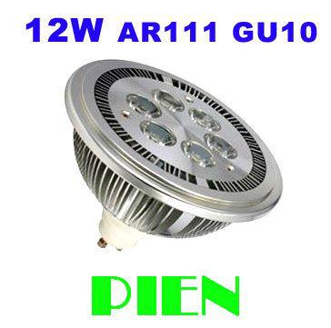 12W GU10 AR111 LED Spotlights 12W 6 LED lamp ES111 qr111 replacing 80W Halogen high Power 85-265V by DHL 20pcs/lot(China (Mainland))