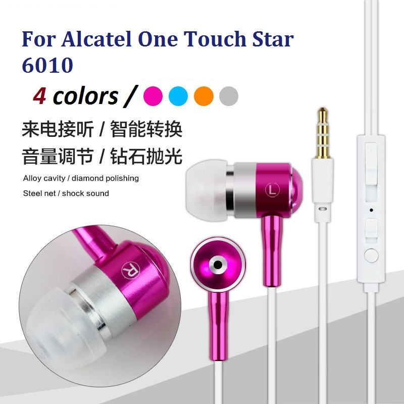 Free Shipping 3.5mm In-ear Earphone Super Clear Bass Metal Headphones Noise isolating Earbud for Alcatel One Touch Star 6010(China (Mainland))