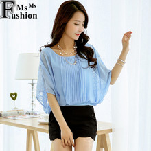New 2016 Summer Women's Batwing Sleeve Lace Chiffon Blouses Shirts Ladies Casual Loose Plus Size Clothing Sexy Blouse Shirt Tops(China (Mainland))
